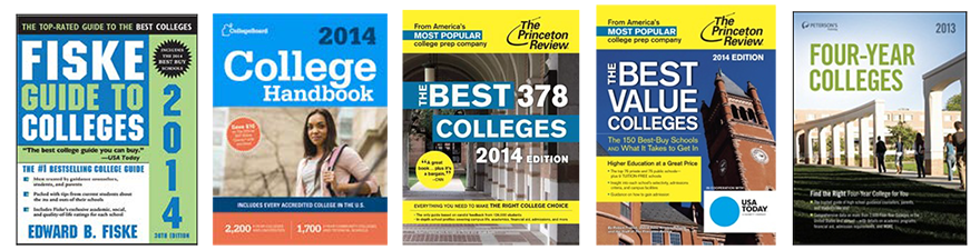 covers of helpful college guidebooks