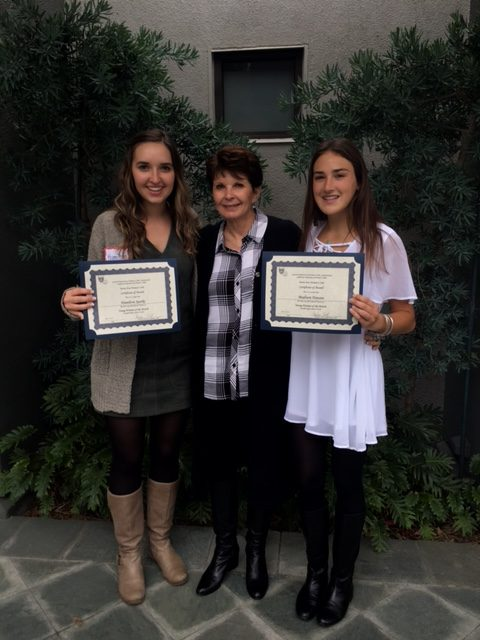 Hamilton Sparks and Madison Hanson were recognized as Young Women of the Month for April and May by the Tustin Area Women's Club.