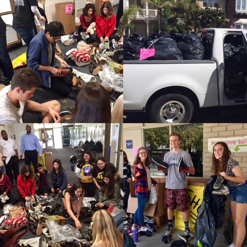 Knights in Progress collected over 1000 pairs of shoes for the hurricane victims