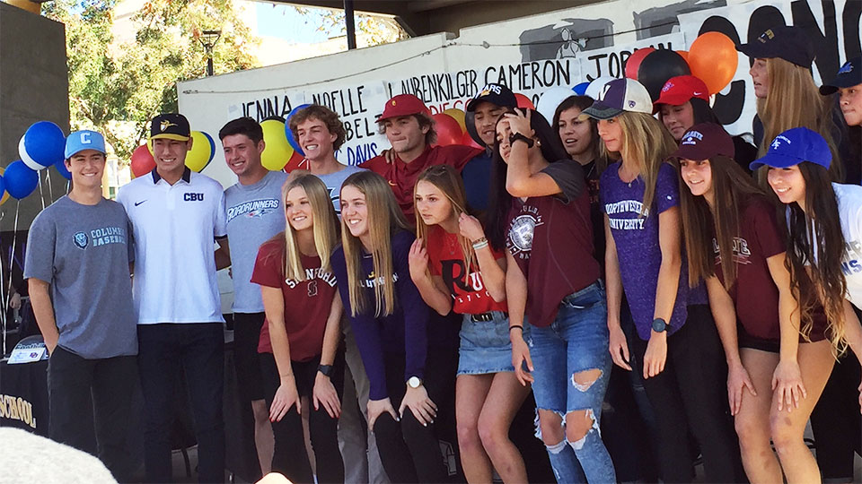 Foothill High School students on their way to participate in college sports next year.  NCAA signing day.