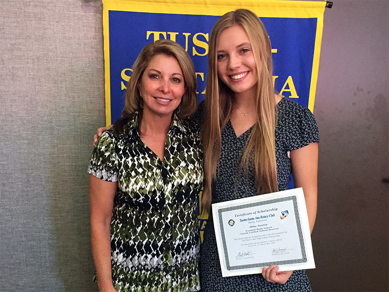 Abigail Austin was Tustin Area Woman's Club Young Woman of the Month for May.