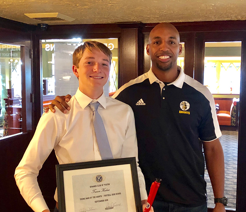 September Young Man of the Month Trevor Kodzis with his counselor Mr. Jeff Bonds - foothillhscounseling.org